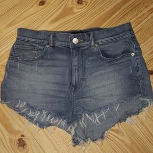 Express Super High Rise Cheeky denim shorts size 8